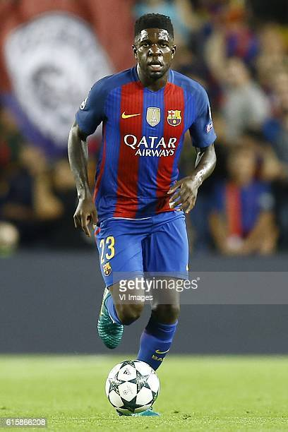 Samuel Umtiti of FC Barcelonaduring the UEFA Champions League group C match between FC Barcelona and Manchester City on October 19 2016 at the Camp...