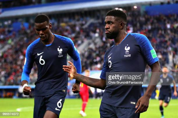 Samuel Umtiti of France celebrates after scoring his sides first goal during the 2018 FIFA World Cup Russia Semi Final match between Belgium and...