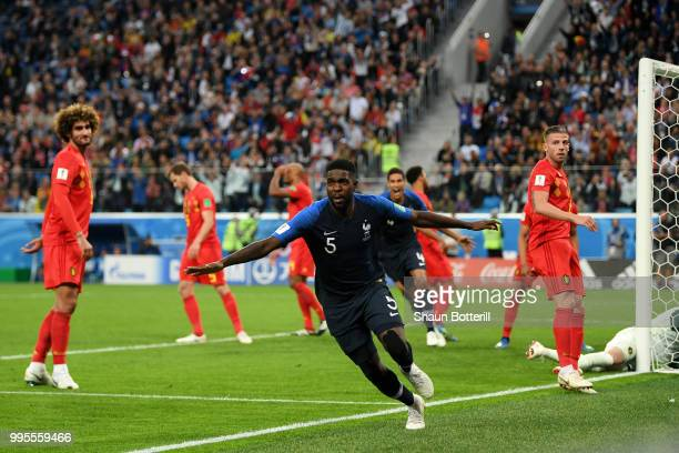 Samuel Umtiti of France celebrates after scoring his team's first goal during the 2018 FIFA World Cup Russia Semi Final match between Belgium and...
