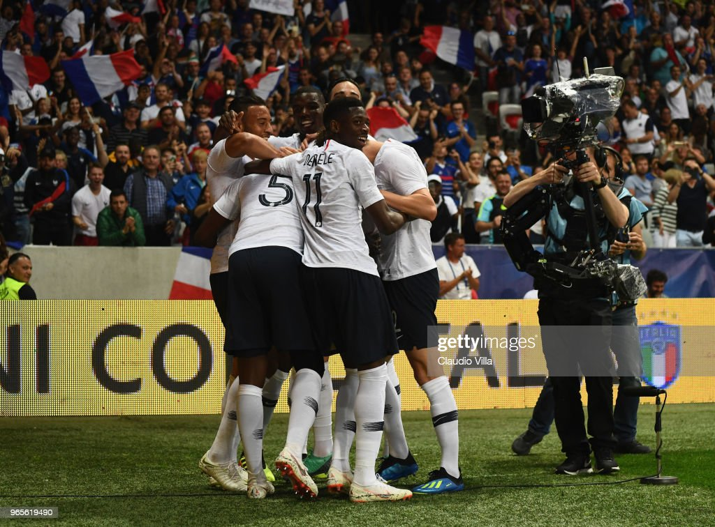 Samuel Umtiti of France #5 celebrates after scoring the opening goal during the International Friendly match between France and Italy at Allianz Riviera Stadium on June 1, 2018 in Nice, France.