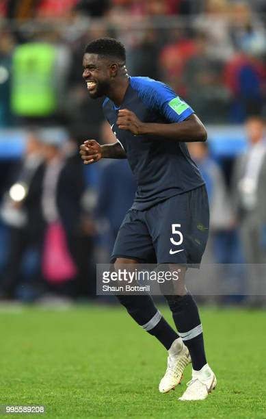 Samuel Umtiti of France celebrates following his sides victory in the 2018 FIFA World Cup Russia Semi Final match between Belgium and France at Saint...