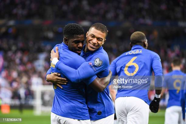 Samuel Umtiti of France celebrates his goal with Kylian Mbappe during the Qualifying European Championship 2020 match between France and Iceland at...