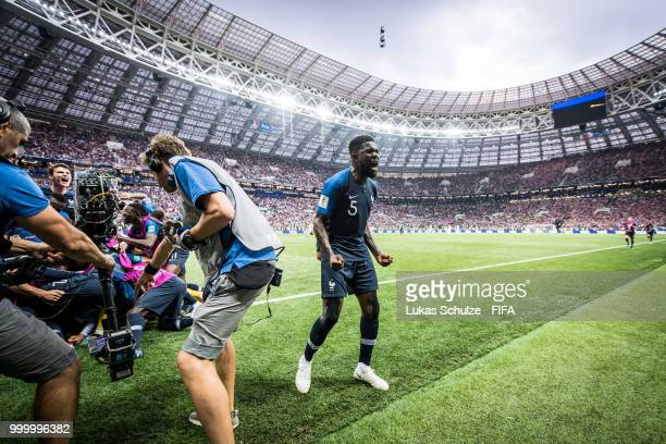 Samuel Umtiti of France celebrates his teams third goal during the 2018 FIFA World Cup Russia Final between France and Croatia at Luzhniki Stadium on...