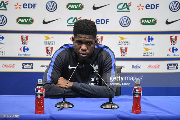 Samuel Umtiti of France during press conference of the french national team at Centre National du Football on November 8 2016 in Clairefontaine France