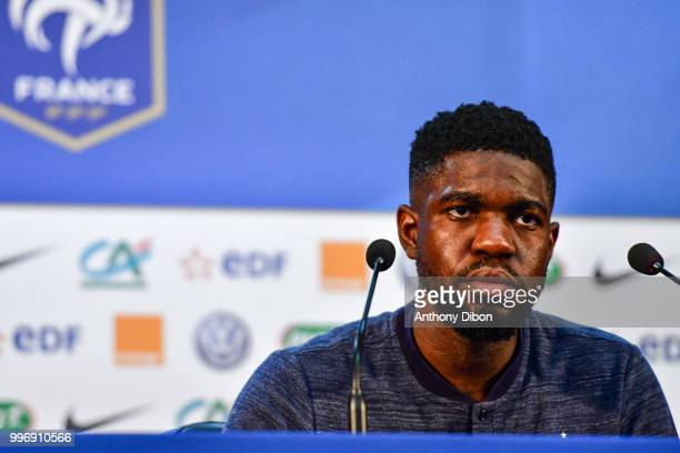 Samuel Umtiti of France during the training and Press Conference France on July 12 2018 in Moscow Russia