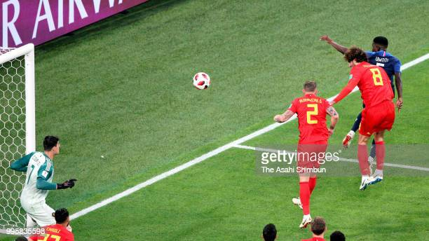 Samuel Umtiti of France heads to score the opening goal with his team mates during the 2018 FIFA World Cup Russia Semi Final match between Belgium...