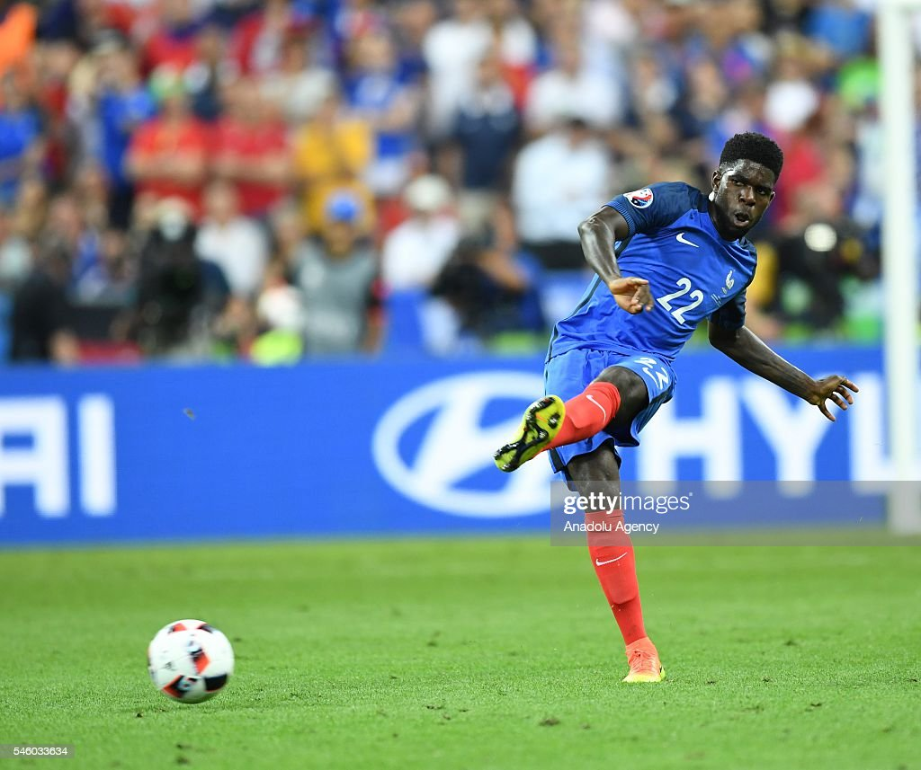 Samuel Umtiti of France in action during the Euro 2016 final match between Portugal and France at Stade de France in Paris, France on July 10, 2016.