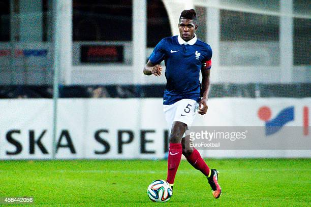 Samuel Umtiti of France in action during the UEFA Under21 Championship qualifying match between Sweden and France in Orjans Vall Stadium on October...
