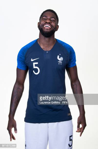 Samuel Umtiti of France poses for a portrait during the official FIFA World Cup 2018 portrait session at the Team Hotel on June 11 2018 in Moscow...