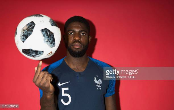 Samuel Umtiti of France poses for a potrait at the team hotel during the official FIFA World Cup 2018 portrait session at on June 11 2018 in Moscow...