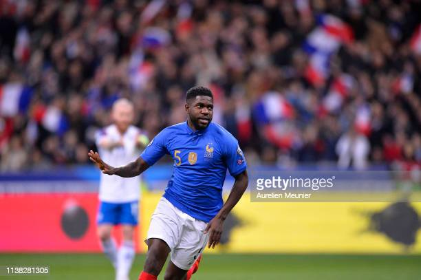 Samuel Umtiti of France reacts after scoring during the 2020 UEFA European Championships group H qualifying match between France and Iceland at Stade...