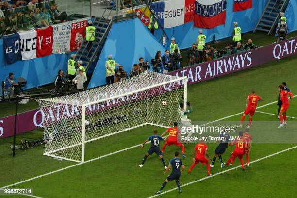 Samuel Umtiti of France scores a goal to make it 10 during the 2018 FIFA World Cup Russia Semi Final match between Belgium and France at Saint...