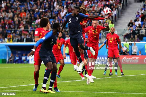 Samuel Umtiti of France scores his sides first goal during the 2018 FIFA World Cup Russia Semi Final match between Belgium and France at Saint...
