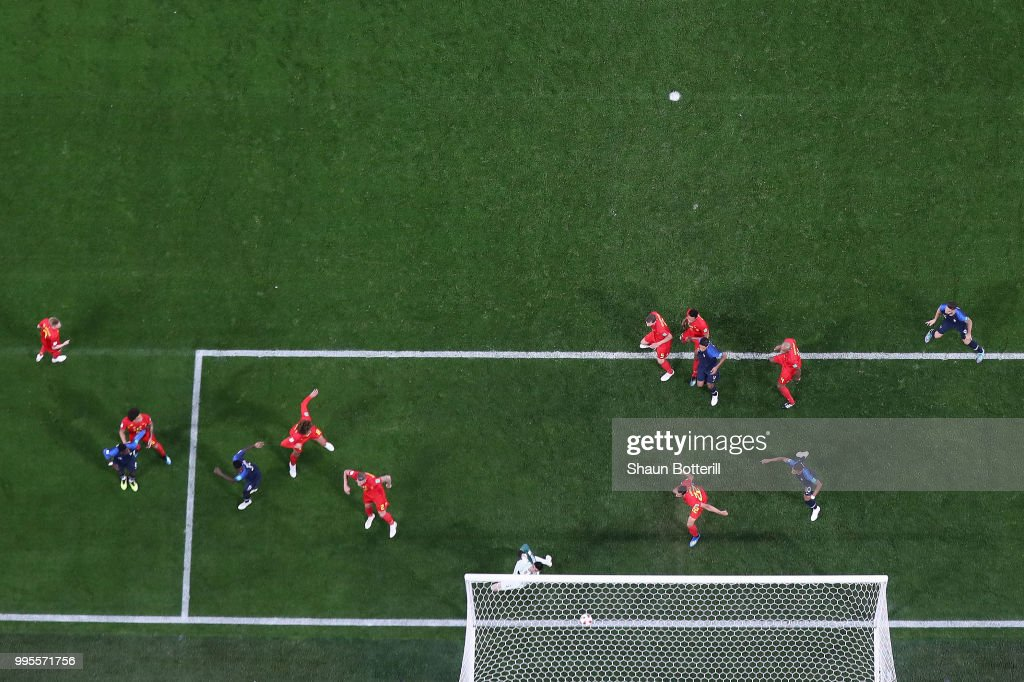 Samuel Umtiti of France scores his team's first goal during the 2018 FIFA World Cup Russia Semi Final match between Belgium and France at Saint Petersburg Stadium on July 10, 2018 in Saint Petersburg, Russia.