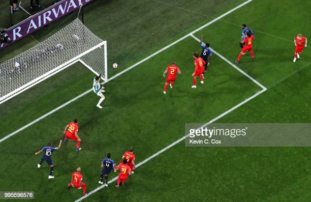 Samuel Umtiti of France scores his team's first goal during the 2018 FIFA World Cup Russia Semi Final match between Belgium and France at Saint...