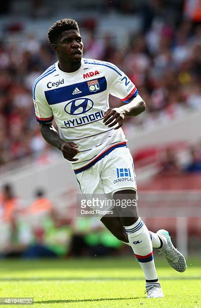 Samuel Umtiti of Lyon looks on during the Emirates Cup match between Arsenal and Olympique Lyonnais at the Emirates Stadium on July 25 2015 in London...