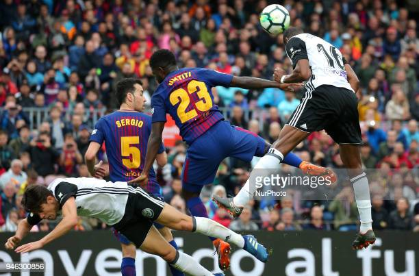 Samuel Umtiti Santi Mina Sergio Busquets and Kondogbia during the match between FC Barcelona and Valencia CF played at the Camp Nou Stadium on 14th...