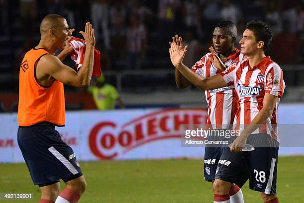 Samuel Vanegas Maicol Balanta and Guillermo Celis of Junior celebrate the opening goal during the Final First Leg Match between Junior and Atletico...
