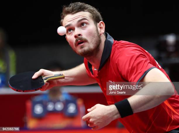 Samuel Walker of England competes during the Table Tennis men team round against Ghana on day one of the Gold Coast 2018 Commonwealth Games at...