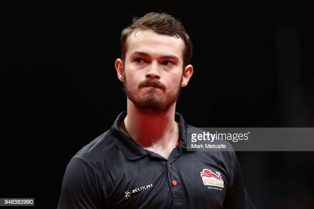 Samuel Walker of England looks on against Sharath Achanta of India in their Men's Singles Bronze Medal Match during Table Tennis on day 11 of the...