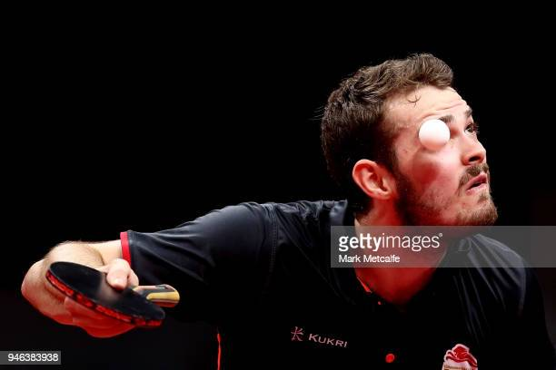 Samuel Walker of England serves against Sharath Achanta of India in their Men's Singles Bronze Medal Match during Table Tennis on day 11 of the Gold...