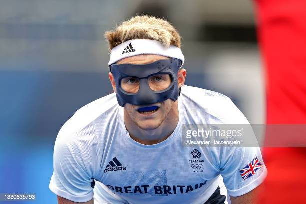 Samuel Ward of Team Great Britain looks on against Team Canada during the Men's Preliminary Pool B match on day three of the Tokyo 2020 Olympic Games...