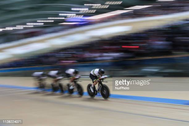 Samuel Welsford Kelland O'Brien Leigh Howard Alexander Porter Men`s team pursuit on day two of the UCI Track Cycling World Championships held in the...