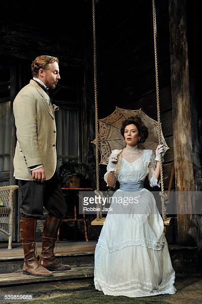 Samuel West as Doctor Astrov and Anna Friel as Yelena in Anton Chekhov's Uncle Vanya directed by Lindsay Posner at the Vaudville Theatre in London