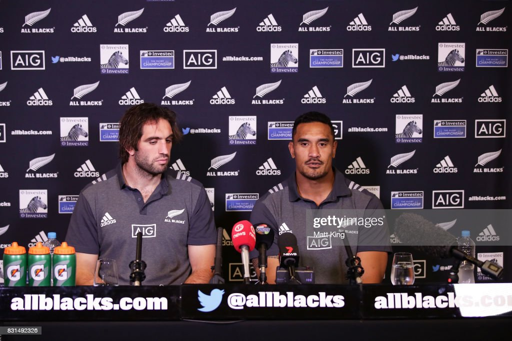 Samuel Whitelock (L) and Jerome Kaino (R) of the All Blacks speak to the media during a New Zealand All Blacks media session at Intercontinental Double Bay on August 15, 2017 in Sydney, Australia.