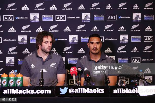 Samuel Whitelock and Jerome Kaino of the All Blacks speak to the media during a New Zealand All Blacks media session at Intercontinental Double Bay...