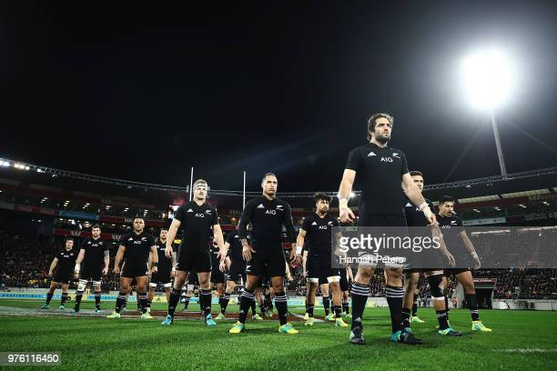 Samuel Whitelock of the All Blacks leads the haka prior to the International Test match between the New Zealand All Blacks and France at Westpac...