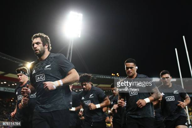 Samuel Whitelock of the All Blacks leads the team in ahead of the International Test match between the New Zealand All Blacks and France at Westpac...