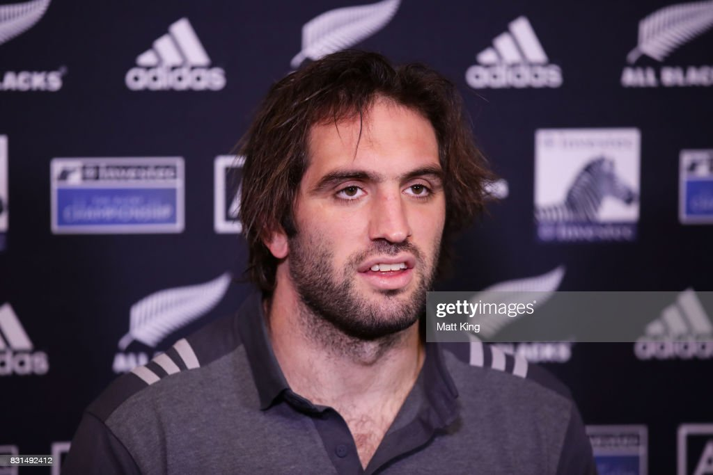 Samuel Whitelock of the All Blacks speaks to the media during a New Zealand All Blacks media session at Intercontinental Double Bay on August 15, 2017 in Sydney, Australia.