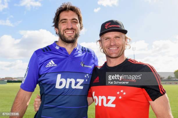 Samuel Whitelock of the Crusaders and Head Coach Scott Robertson of the Crusaders look on during a Crusaders media session at Rugby Park on April 20...