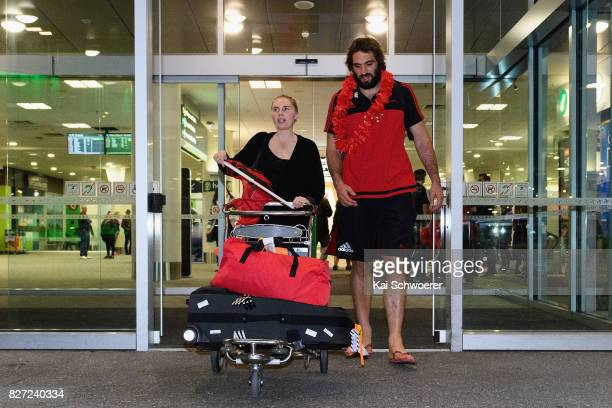 Samuel Whitelock of the Crusaders and his wife Hannah Lawton leave Christchurch Airport on August 7 2017 in Christchurch New Zealand The Crusaders...