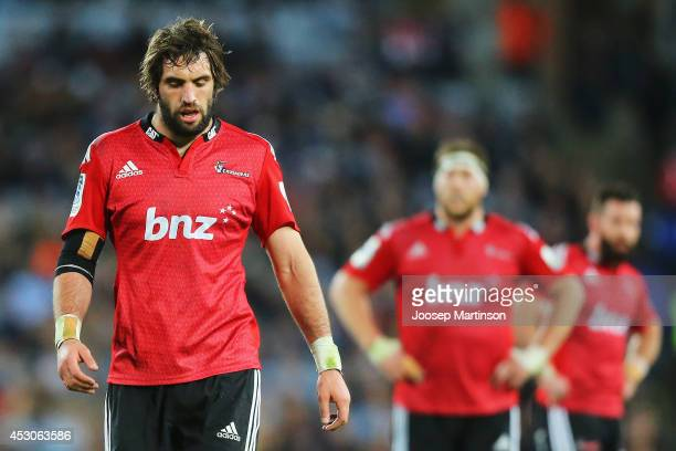 Samuel Whitelock of the Crusaders looks dejected during the Super Rugby Grand Final match between the Waratahs and the Crusaders at ANZ Stadium on...