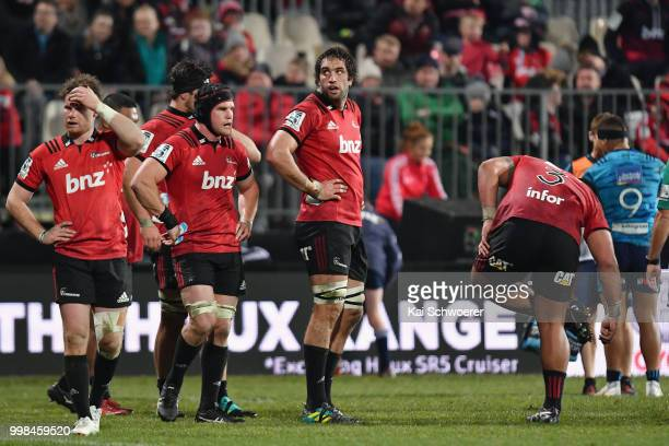 Samuel Whitelock of the Crusaders looks on during the round 19 Super Rugby match between the Crusaders and the Blues at AMI Stadium on July 14 2018...