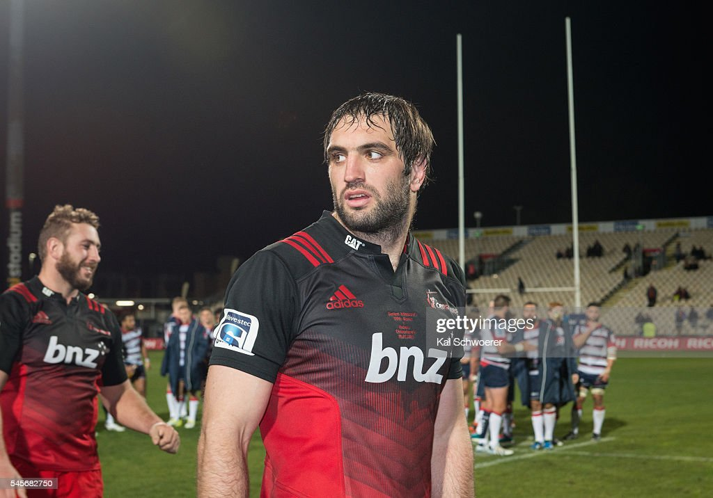 Samuel Whitelock of the Crusaders looks on following the round 16 Super Rugby match between the Crusaders and the Rebels at AMI Stadium on July 9, 2016 in Christchurch, New Zealand.