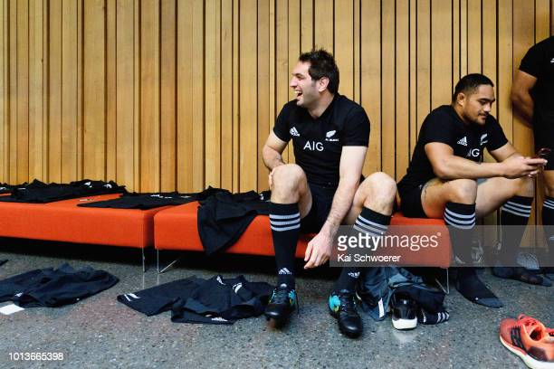 Samuel Whitelock reacts prior to a New Zealand All Blacks team photo session on August 9 2018 in Christchurch New Zealand