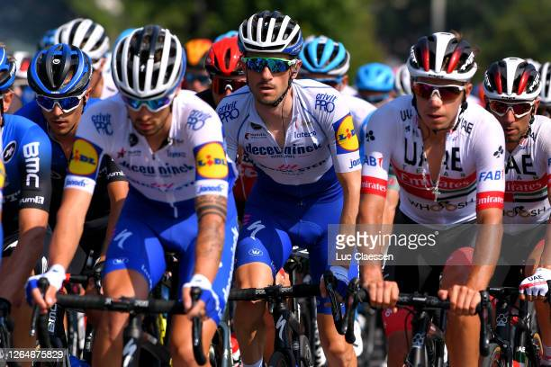 Samuele Battistella of Italy and NTT Pro Cycling Team / Dries Devenyns of Belgium and Team Deceuninck - Quick-Step / Rui Oliveira of Portugal and UAE...