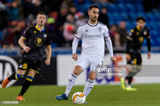 Samuele Campo of Basel in action during the UEFA Europa League round of 32 second leg match between FC Basel and APOEL Nikosia at St JakobPark on...