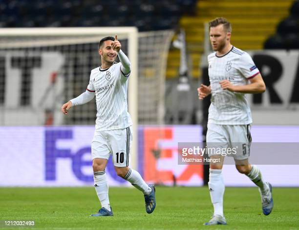 Samuele Campo of FC Basel celebrates after scoring his team's first goal during the UEFA Europa League round of 16 first leg match between Eintracht...