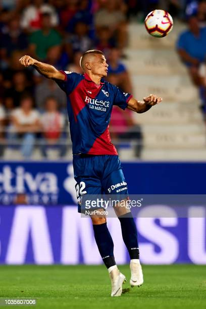 Samuele Longo controls the ball during the match between SD Huesca against Rayo Vallecano at Alcoraz Stadium in Huesca Spain on September 14 2018