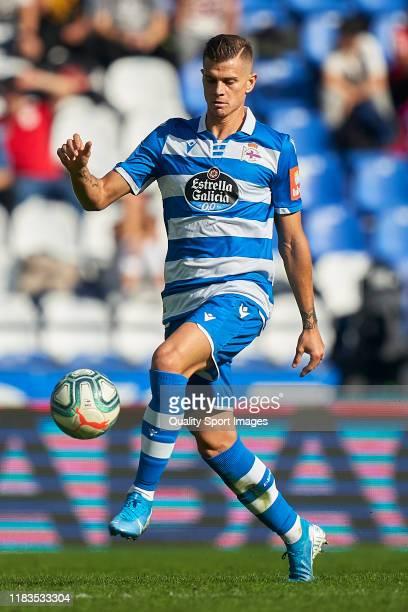 Samuele Longo of Deportivo de La Coruna in action during the La Liga Smartbank match between Deportivo de La Coruna and Malaga CF at Abanca Riazor...