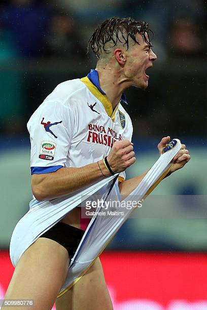 Samuele Longo of Frosinone Calcio reacts during the Serie A match between Empoli FC and Frosinone Calcio at Stadio Carlo Castellani on February 13...