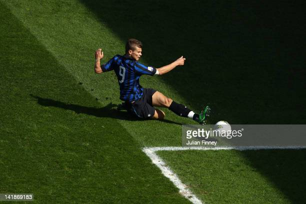 Samuele Longo of Inter Milan scores the opening goal during the NextGen Series Final between Ajax U19 and Inter Milan U19 at Matchroom Stadium on...