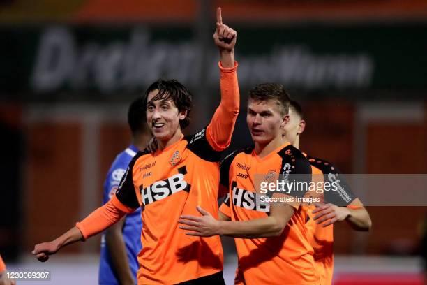 Samuele Mulattieri of FC Volendam celebrates 1-0 during the Dutch Keuken Kampioen Divisie match between FC Volendam v FC Den Bosch at the Kras...