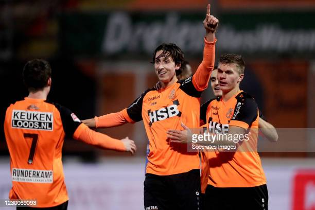 Samuele Mulattieri of FC Volendam celebrates 1-0 with Nick Doodeman of FC Volendam during the Dutch Keuken Kampioen Divisie match between FC Volendam...