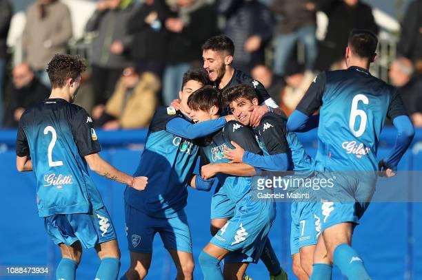 Samuele Ricci of Empoli FC U19 celebrates after scoring a goal during the Serie A Primavera match between Empoli U19 and Udinese U19 on January 25...