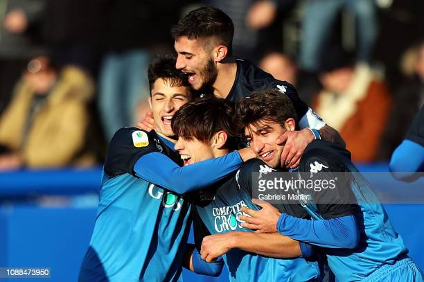 Samuele Ricci of Empoli FC U19 celebrates after scoring a goal during the Serie A Primavera match between Empoli U19 and Udinese U19 on January 25...